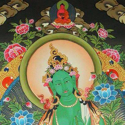 Green Tara thangka-crop